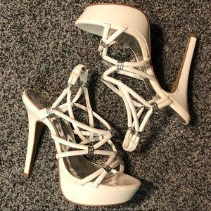 White Fergie High Heels 7